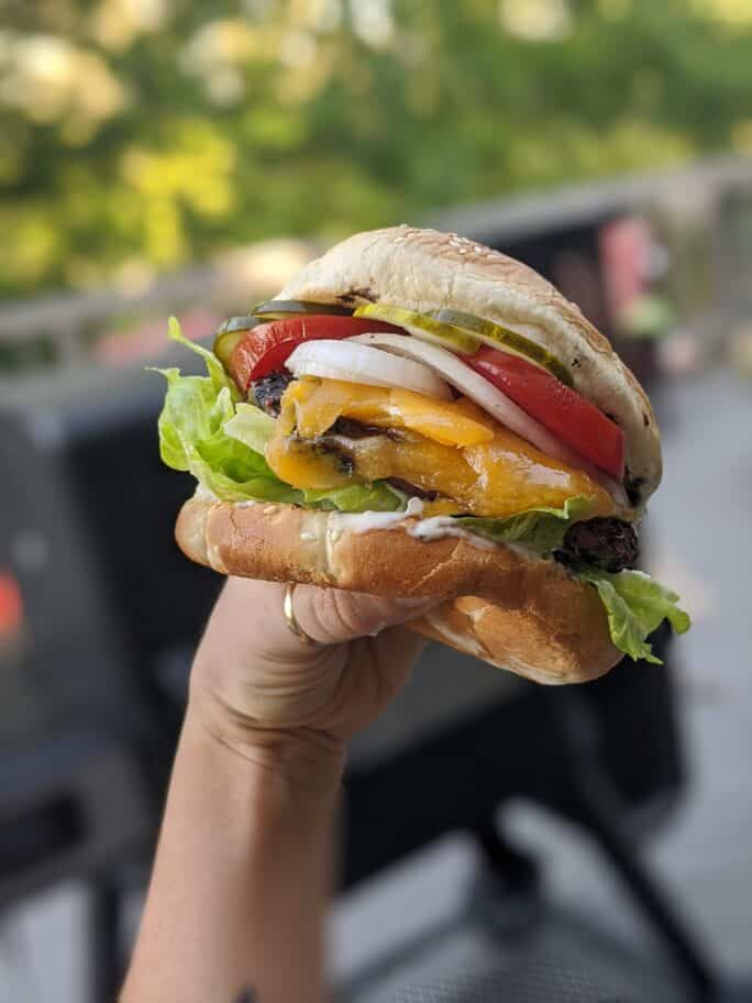 Hand holding a juicy burger with tomato, lettuce, onion, and cheese right off the grill