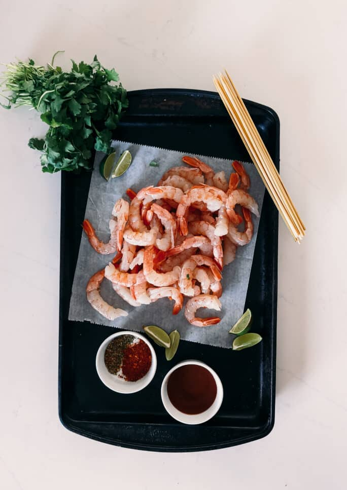BBQ Grilled Shrimp (Peeled with Tails on) served with Lime, Sauce & Cilantro