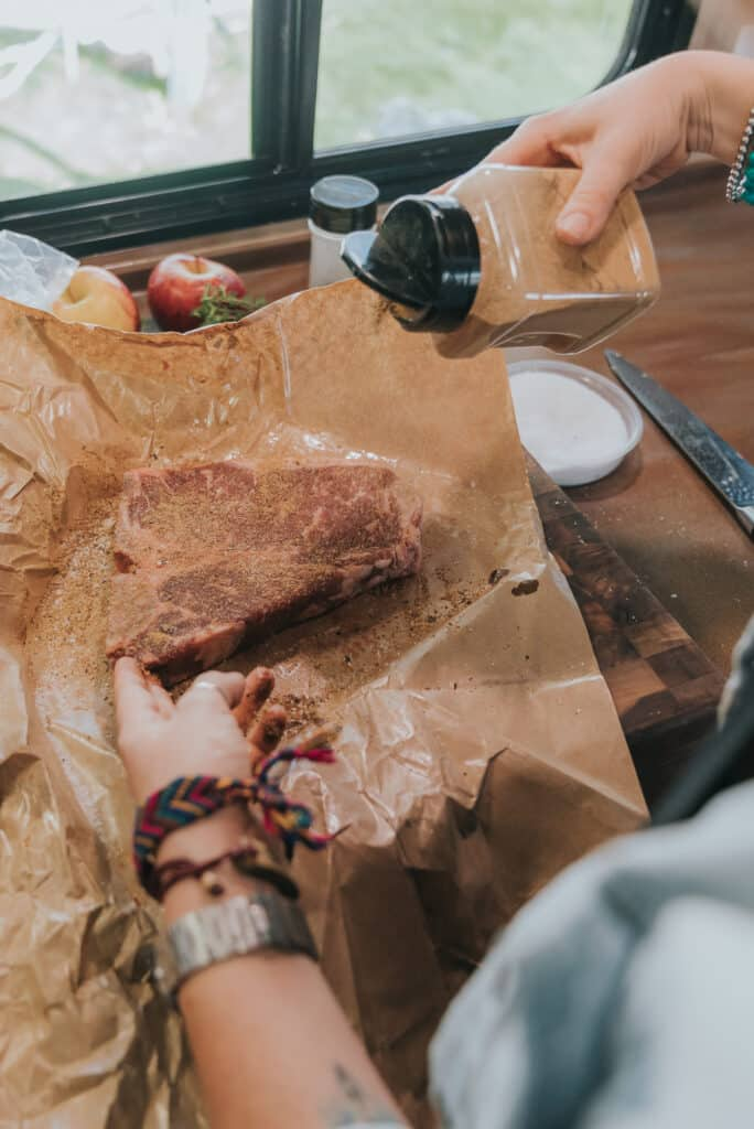 Ooomami, girl carnivore's umami powder, bring sprinkled over porterhouse steaks
