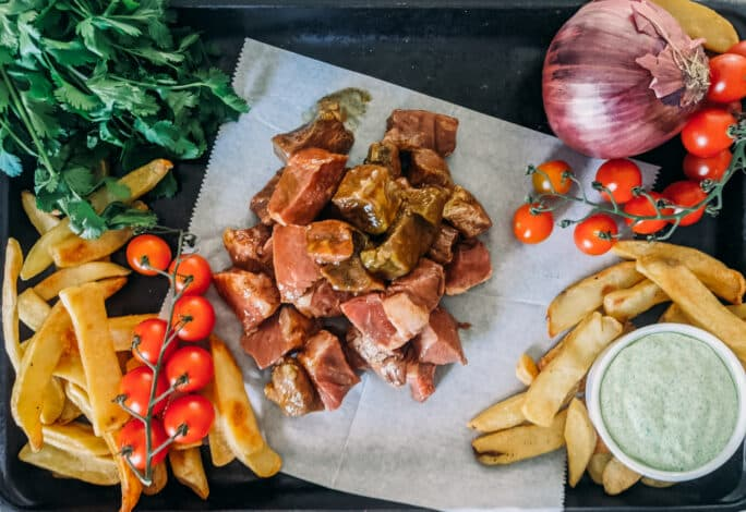 ingredients for steak and potato kabobs