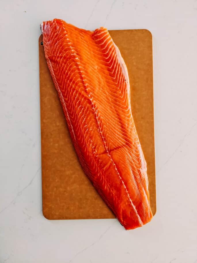 raw while salmon filet