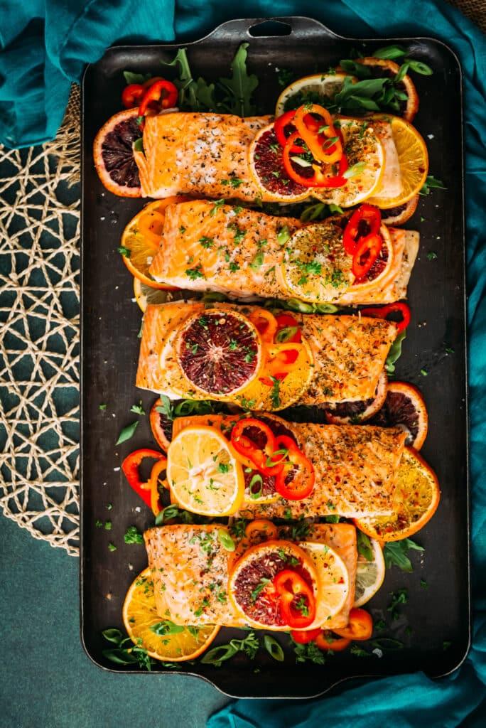 above shot of sheet pan baked citrus salmon