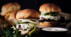 Philly Cheesesteak Burger Recipe with Roasted Garlic Aioli #BurgerMonth