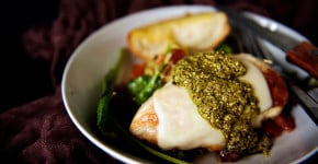 Skillet Mozzarella Chicken with Pesto