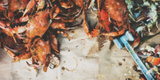 Steamed Blue Crabs on paper | Kita Roberts GirlCarnivore